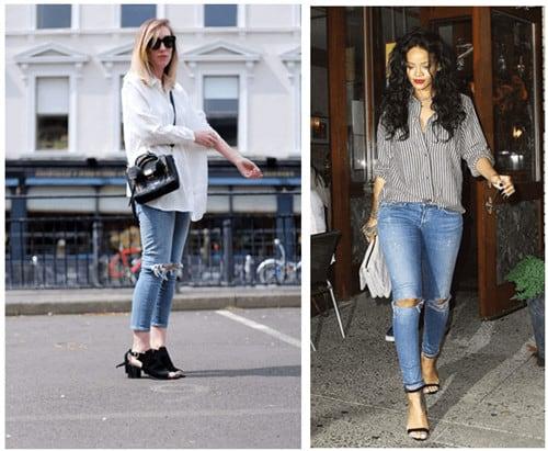 Tư vấn cách phối đồ quần jean rách mặc với áo gì